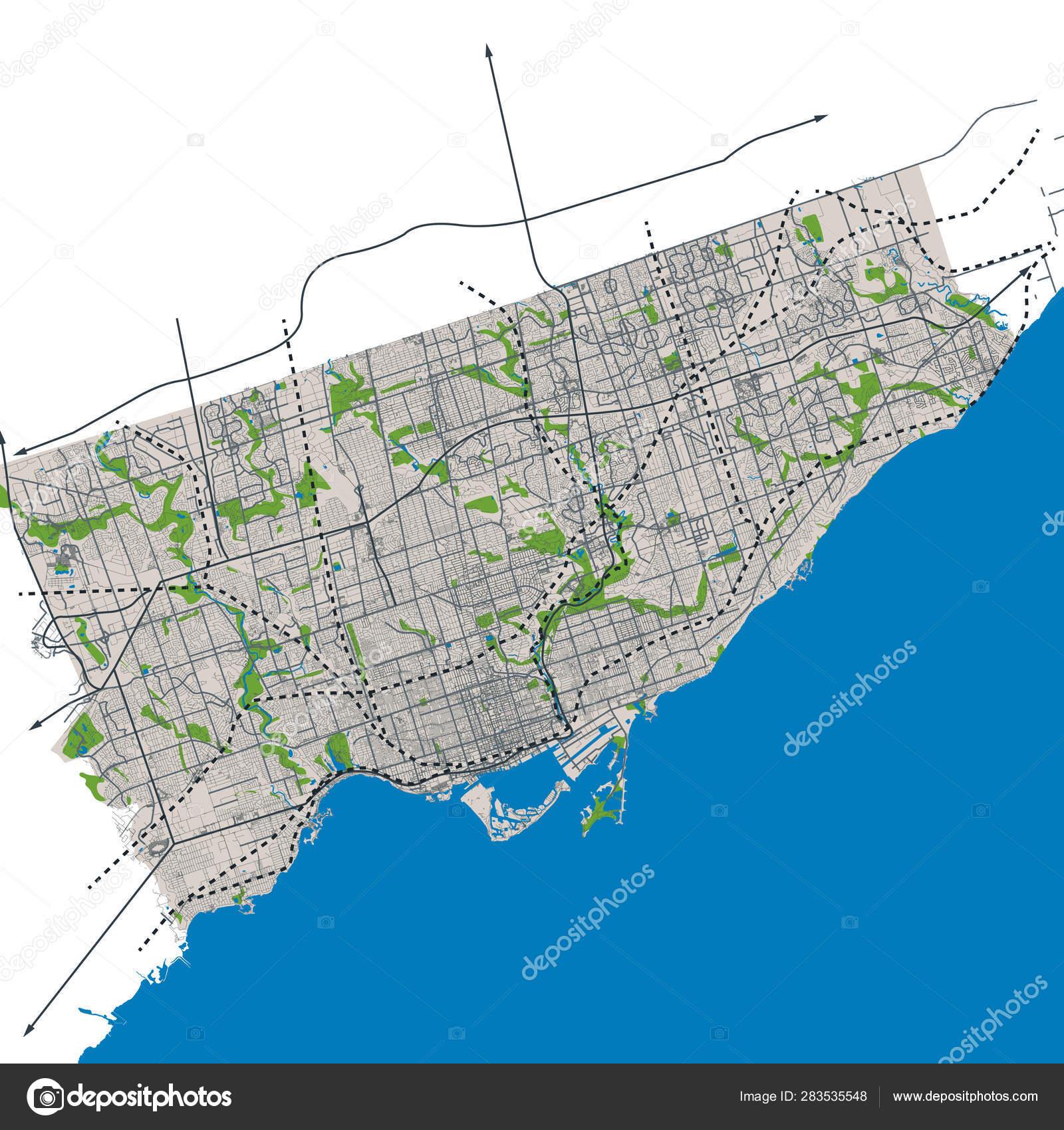 Toronto Ontario Canada Street Network Vector Map — Stock ...