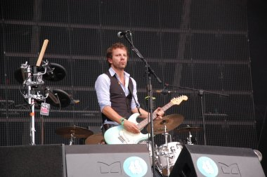 Tom Barman singing and playing live with the Deus band at Pohoda Festival, Trencin, Slovakia - July 8, 2011