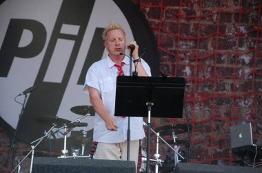 Trencin, Slovakia - July 9, 2011: Johnny Rotten performing live with Public Image limited (PIL, ex Sex Pistols) at Pohoda Festival