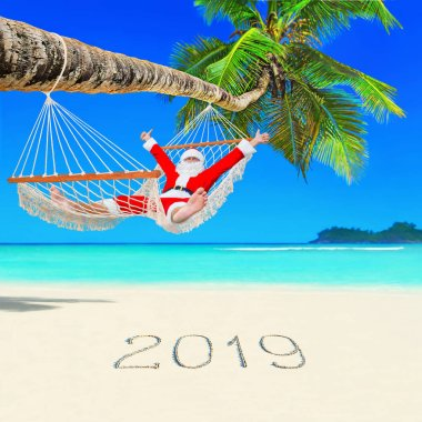 Santa Claus relax at sun in white cozy hammock thumbs up positive gesturing under coconut palm tree at tropical ocean beach, and Happy New Year 2019 caption at white sand. Christmas traveling concept
