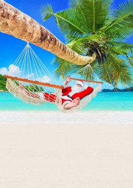 Santa Claus sunbathe in white cozy hammock in shadow of coconut palm tree at sandy ocean island beach. Happy New Year and Merry Christmas travel destinations for tropical vacations,vertical background