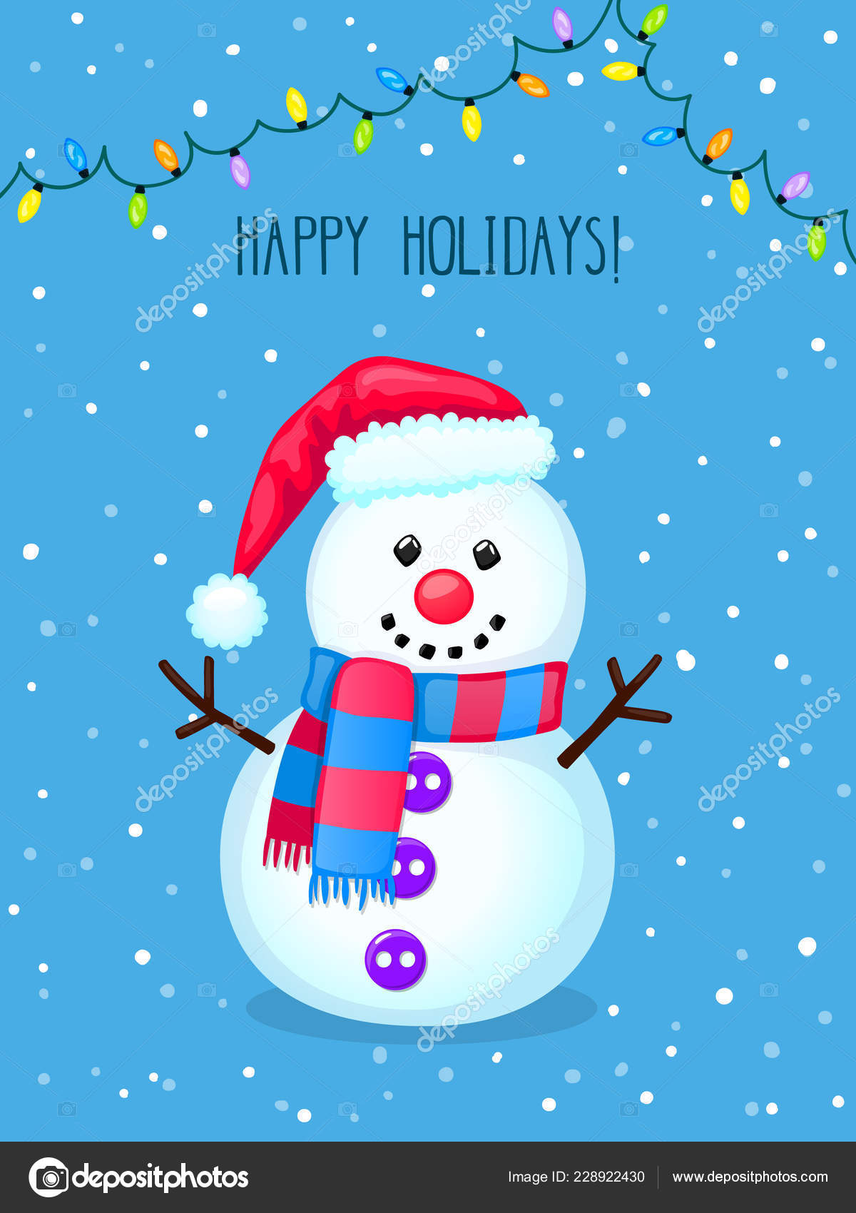 Christmas Greeting Card Cute Snowman Electric Lights Colorful