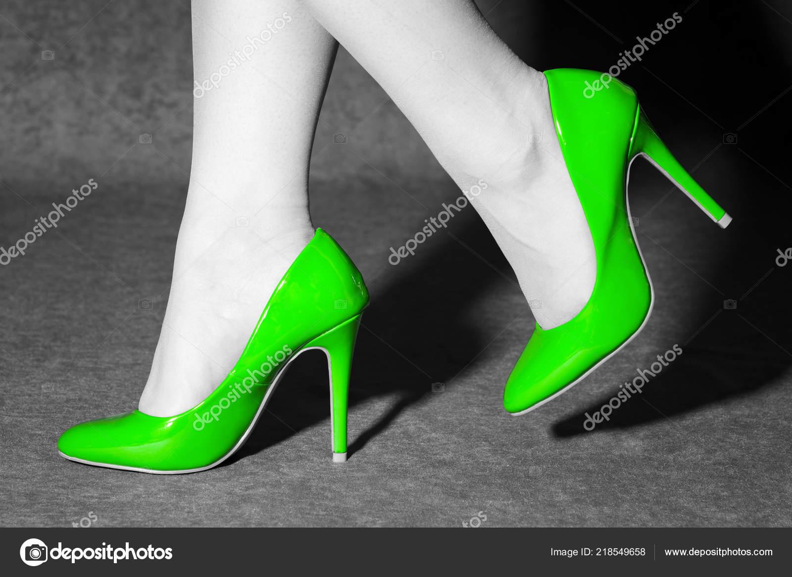 White Photo Green High Heels Shoes