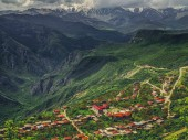 Fotografie aerial view of village in mountains on cloudy day, Armenia