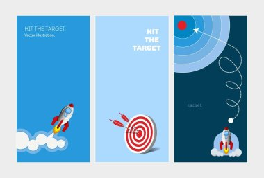 Banners for promotion stories. Achievement of the goal. Vector illustration. icon
