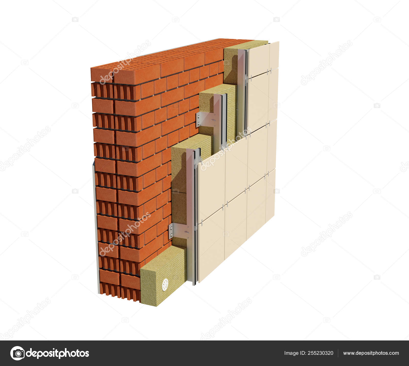 Render Image Insulated House Wall Ventilated Facade Detailed