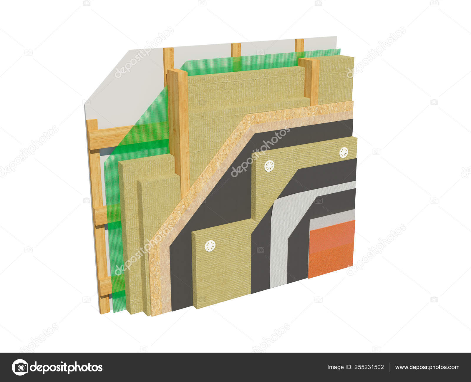 Render Image Insulated Frame House Wall Detailed Concept