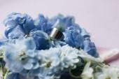 Fotografie beautiful spring bouquet with tender blue flowers, elegant floral decoration