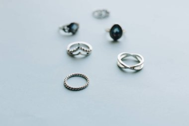 vintage style rings on blue background