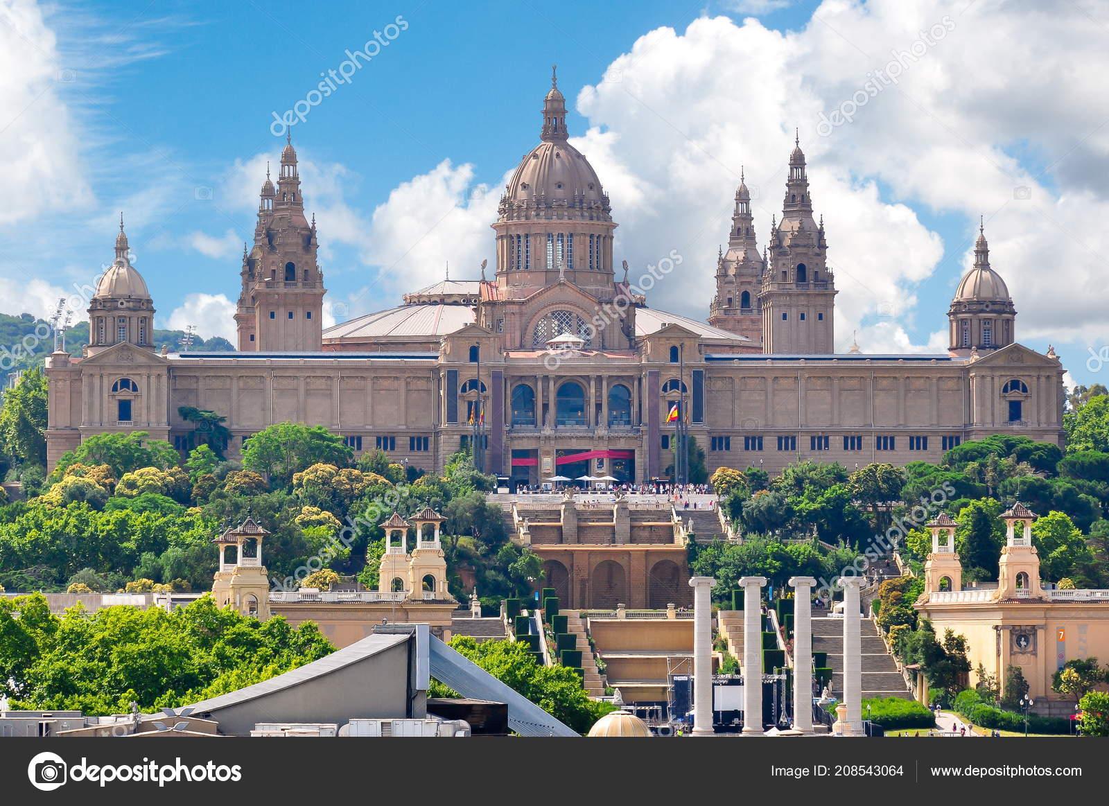 national palace palau nacional barcelona spain stock photo