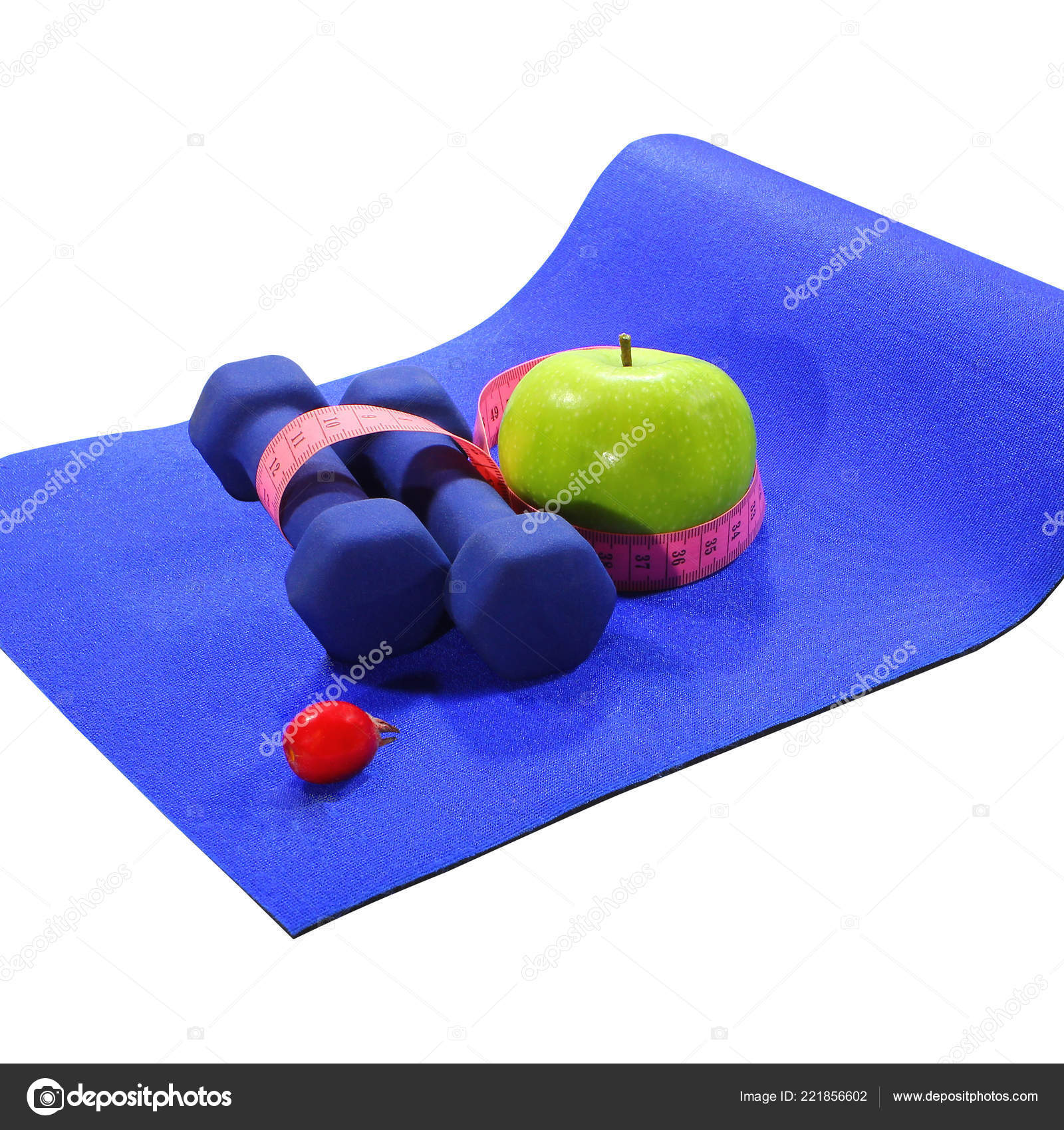 a9ac2b2a8c119 Blue mat with dumbbells green apple drink measuring tape isolated on white  background, healthy lifestyle concept — Photo by k777x