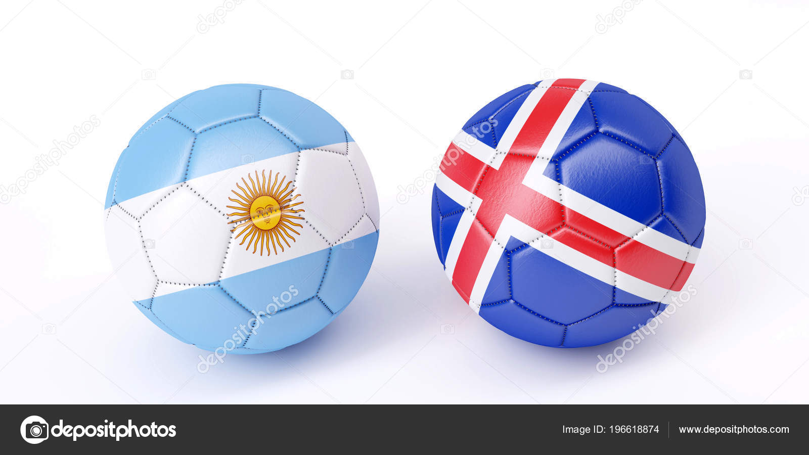 - Two Soccer Balls Flags Colours Argentina Iceland Image — Stock