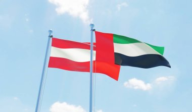 Austria and United Arab Emirates, two flags waving against blue sky. 3d image
