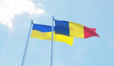 Romania and Ukraine, two flags waving against blue sky. 3d image
