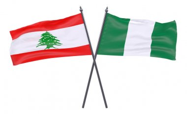 Lebanon and Nigeria, two crossed flags isolated on white background. 3d image