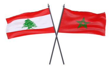Lebanon and Morocco, two crossed flags isolated on white background. 3d image