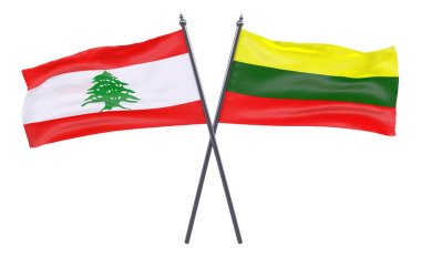 Lebanon and Lithuania, two crossed flags isolated on white background. 3d image