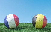 Two soccer balls in flags colours on green grass. France and Belgium. 3d image
