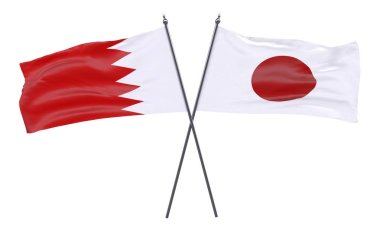 bahrain and japan, two crossed flags isolated on white background