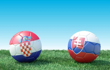 Two soccer balls in flags colors on green grass. Croatia and Slovakia.  EURO 2020. Group E. 3d image