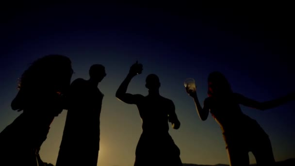Backlight of young people having fun dancing on the beach.