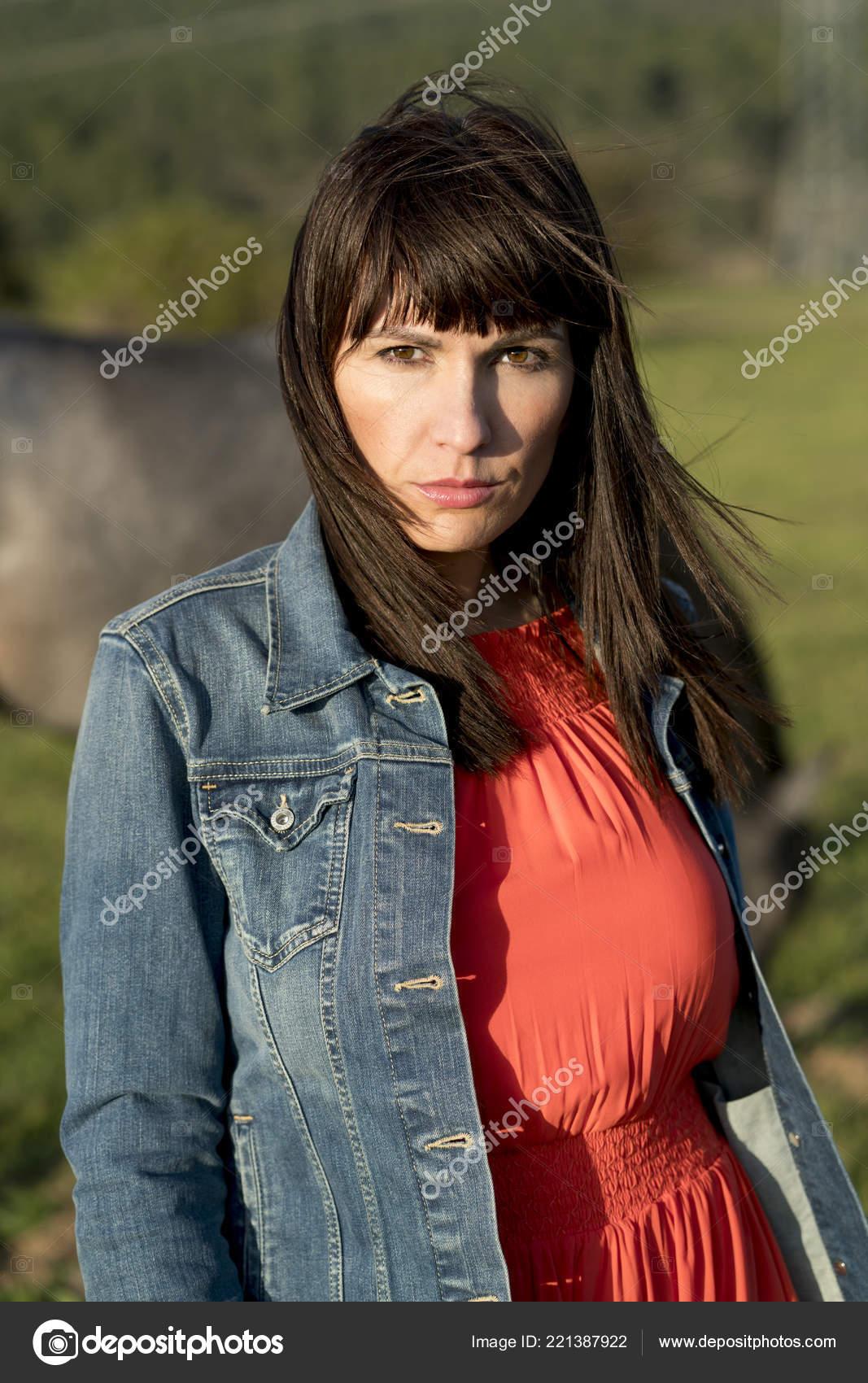 Pretty Woman Red Dress Denim Jacket Farm Stock Photo C Karras6079