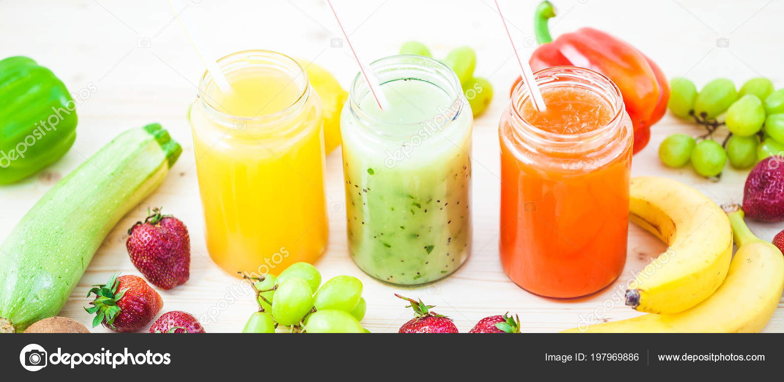 Freshly Squeezed Fruit Juice Smoothies Yellow Orange Green Blue Banana Stock Photo C Natalya Stepowaya 197969886