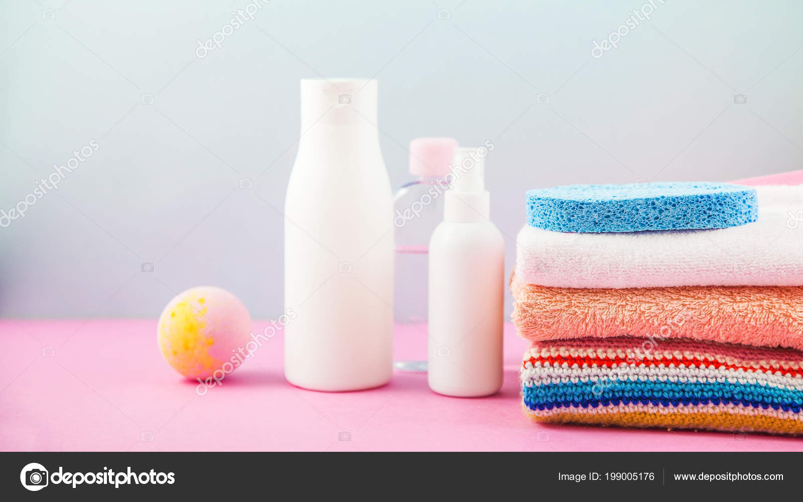 Bathroom Accessories Towels Shampoos Bath Foam Cream Light Bright ...