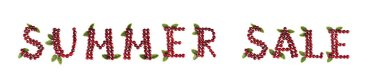 Inscription Cherry Summer Sale Letters Summer background. On a white background