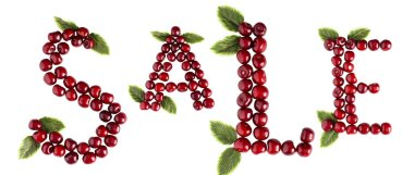 Inscription Cherry Sale Letters Summer background. On a white background