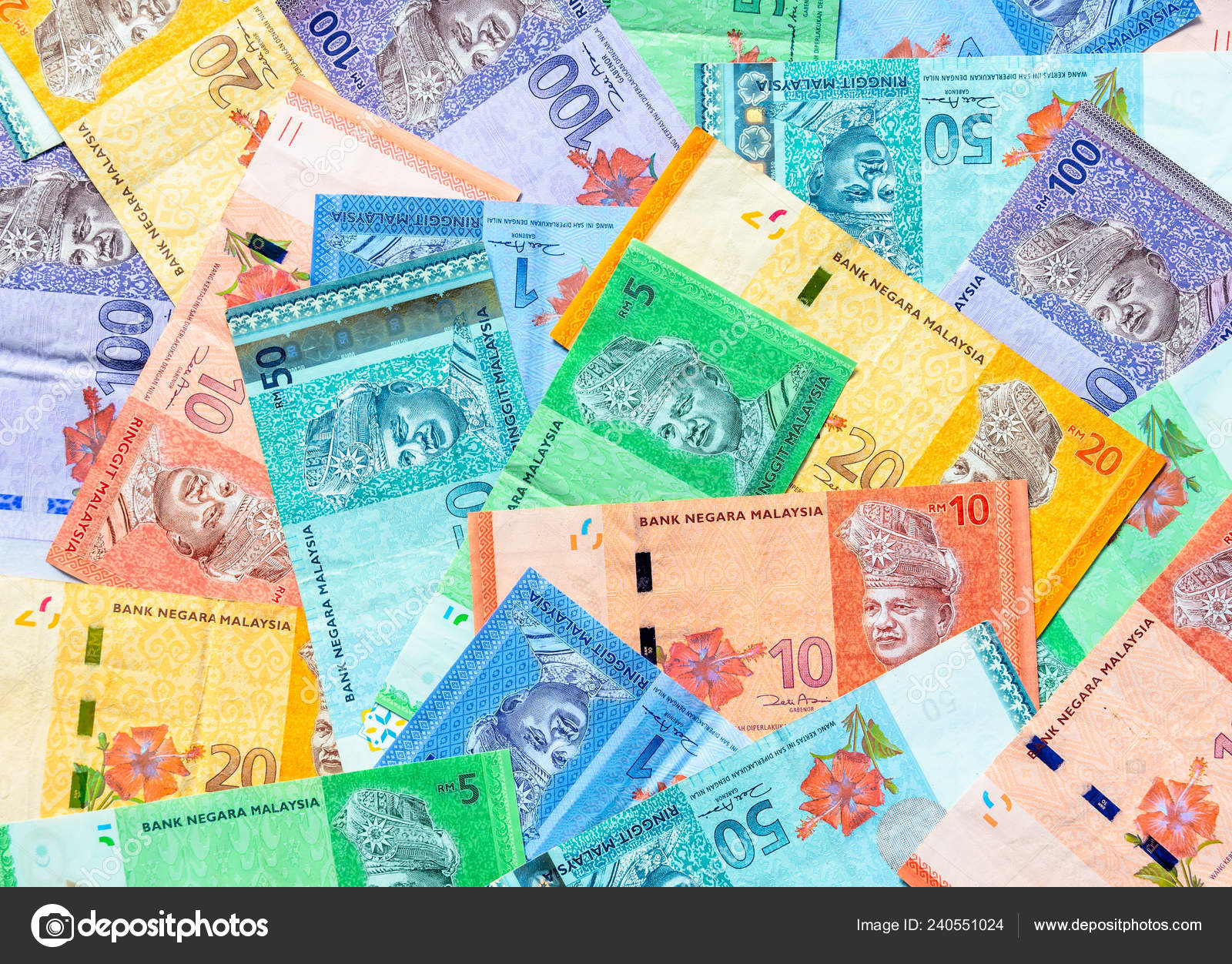 Malaysia Currency Malaysian Ringgit Banknotes Background Paper Money