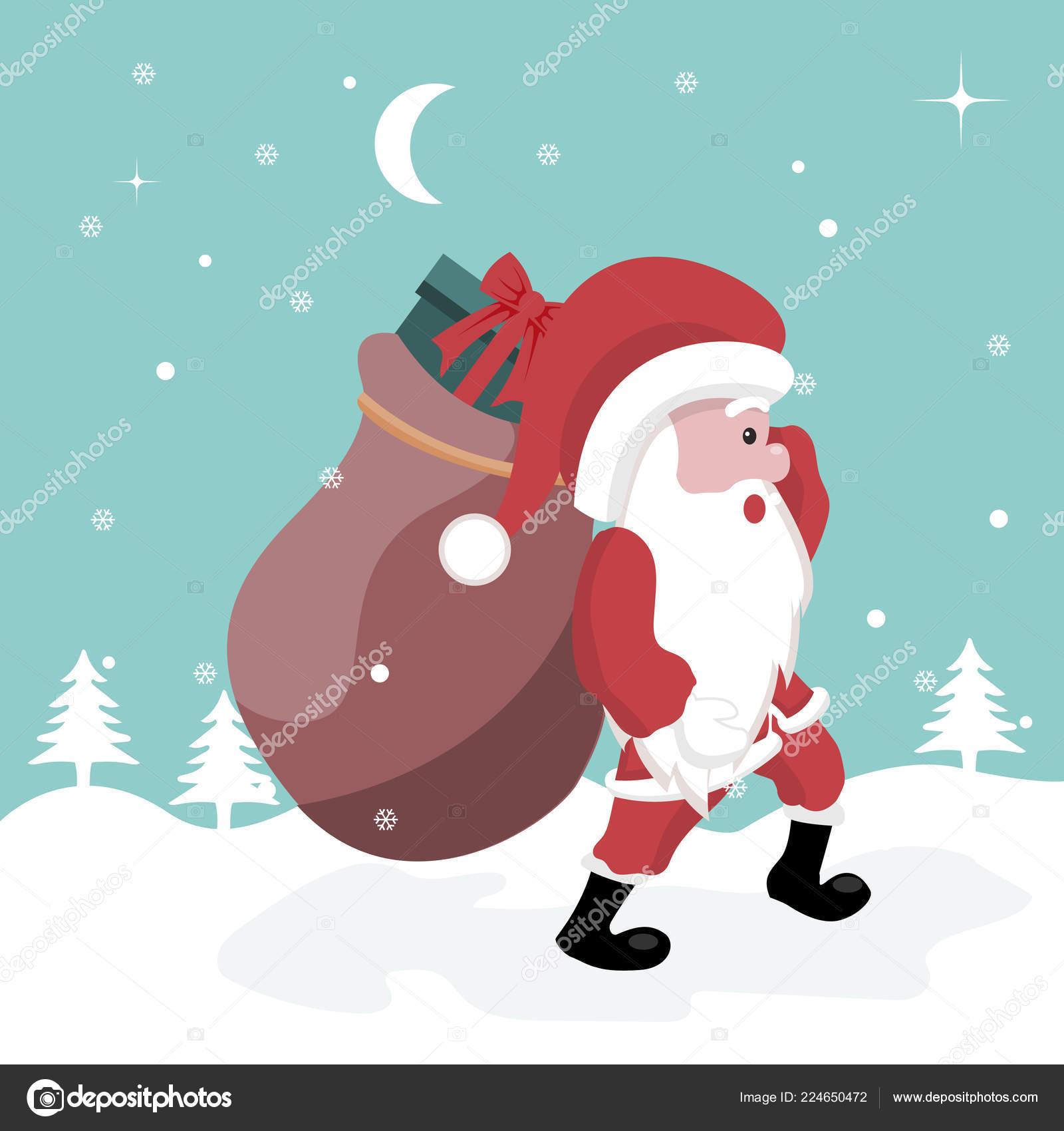 Christmas Card Santa Claus Walking Snow Gifts — Stock Vector ...