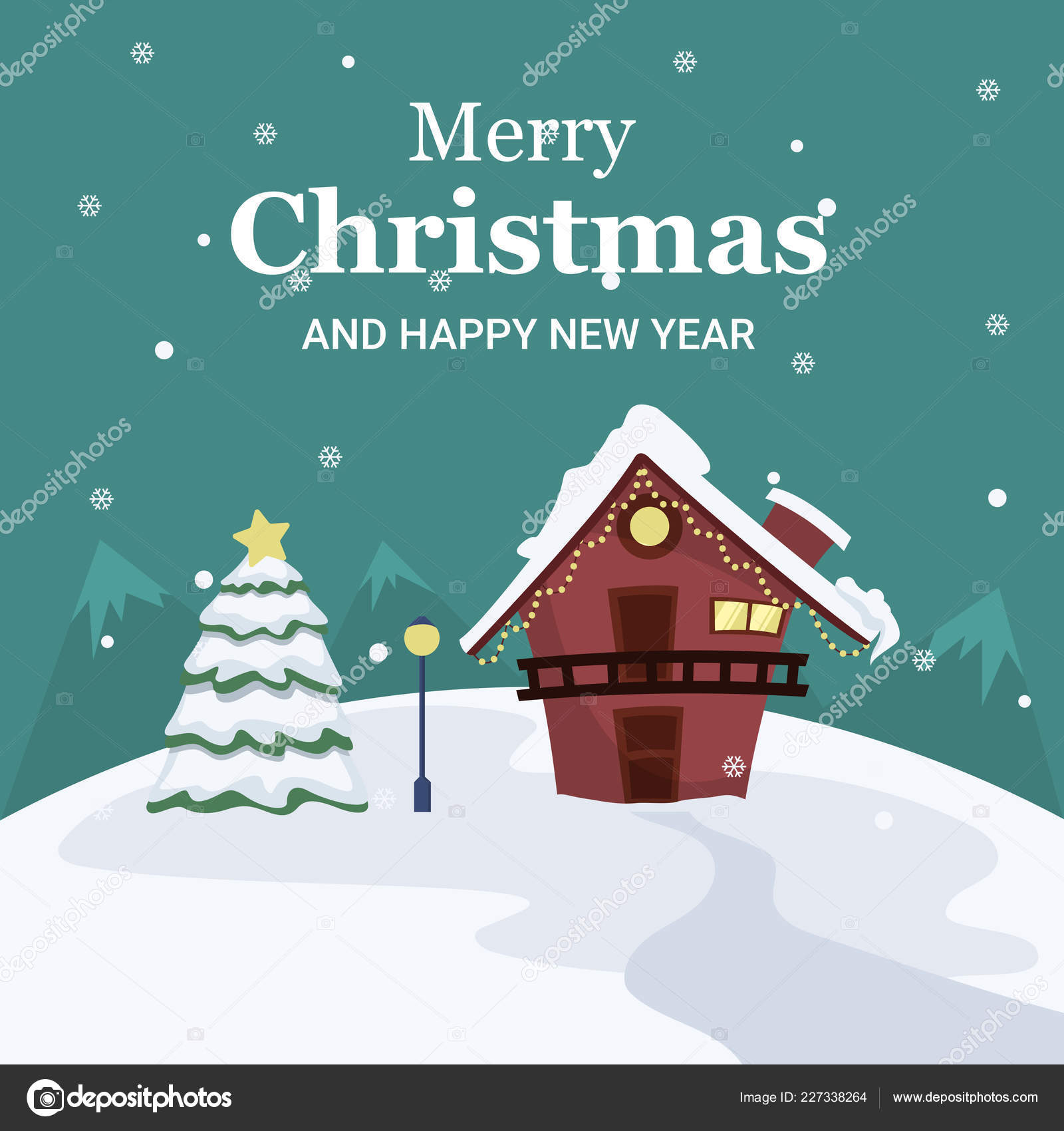 Christmas Landscape Card House Tree Middle Snow — Stock Vector ...
