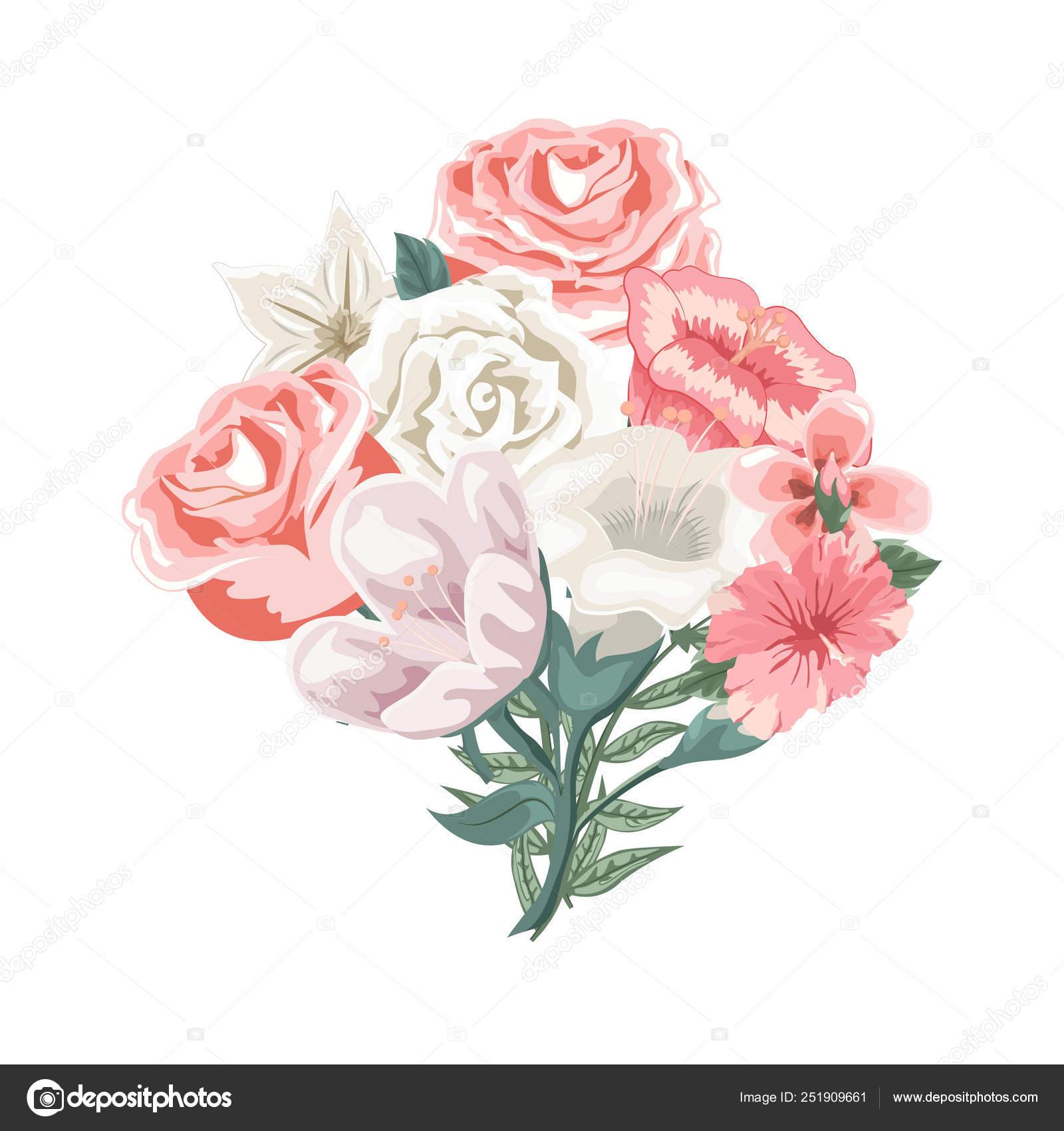Beautiful Bouquet Flowers Roses Tulips Stock Vector C Ipajoel 251909661
