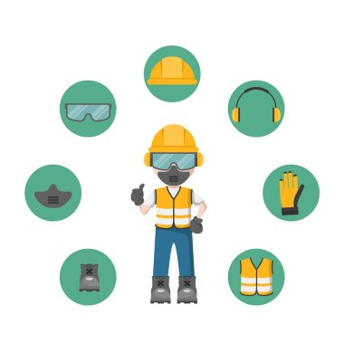 Person design with your personal protection equipment and industrial safety icons stock vector