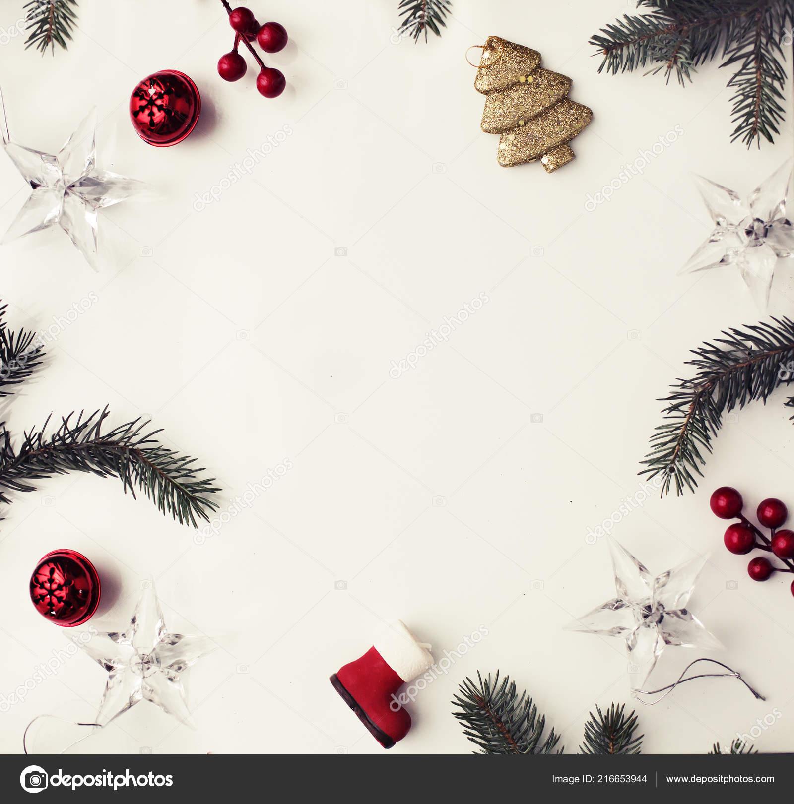 Christmas Decorative Ornaments Pastel Background Vintage Style