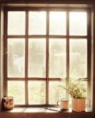 Podzimní nostalgie pozadí s rustikální okna a sedmikrásky v džbánu