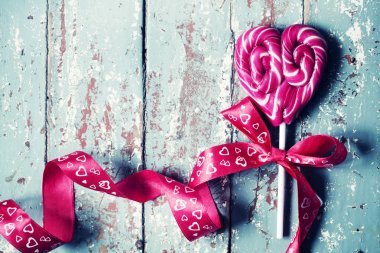 closeup view of heart shaped candy for Valentines day