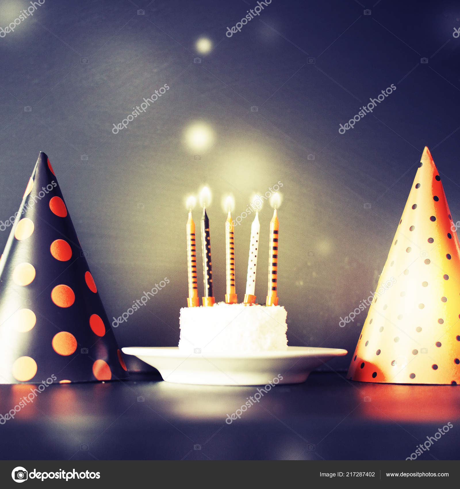 Birthday Cake Candles Cone Hats Vintage Color Copy Space Stock Photo