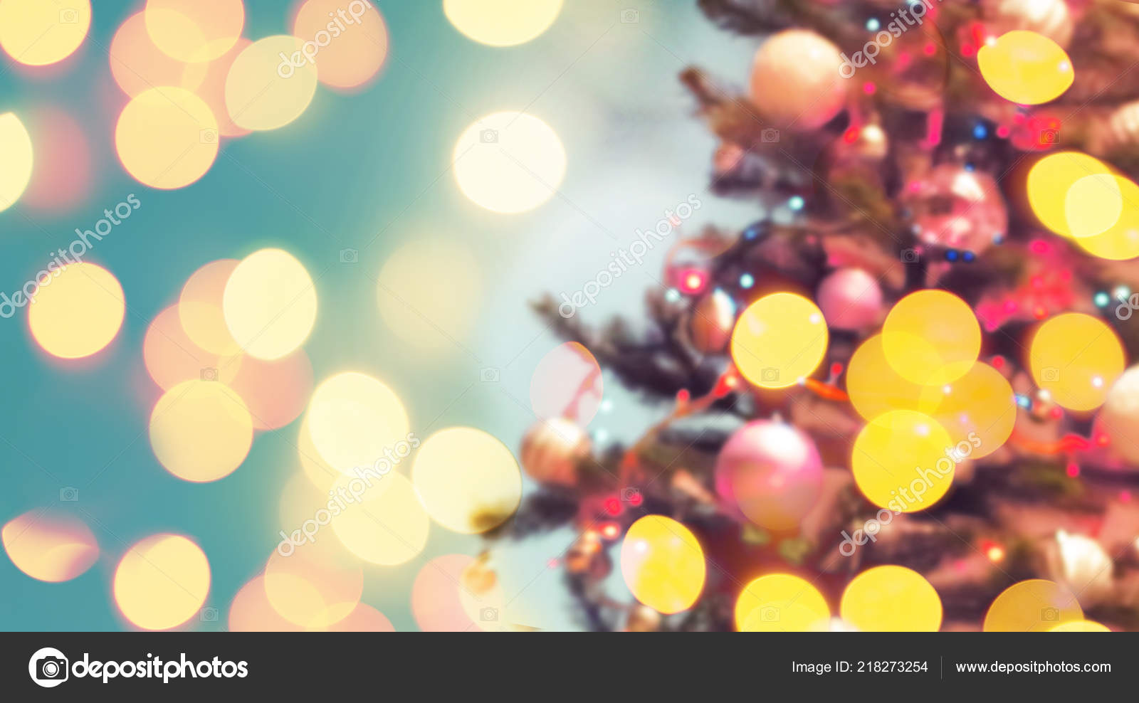 Colorful Christmas Tree Decorations Vintage Style Blurred Background Stock Photo C Avgustin 218273254