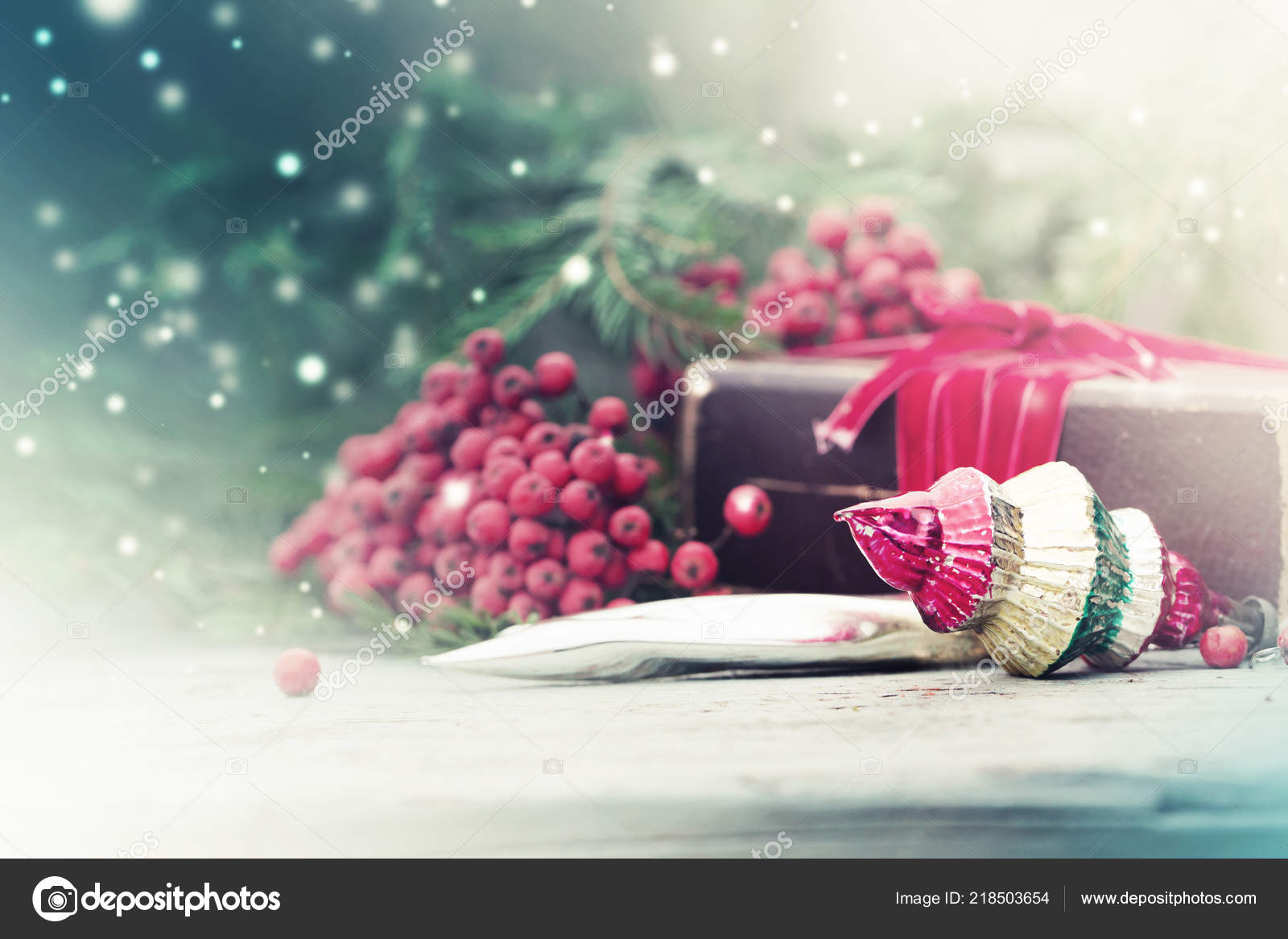 closeup view colorful christmas decorations berries vintage style wooden background stock photo