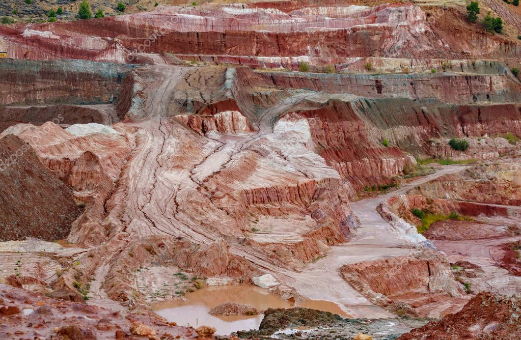 Kaolin strip mine detailed view with bright colors