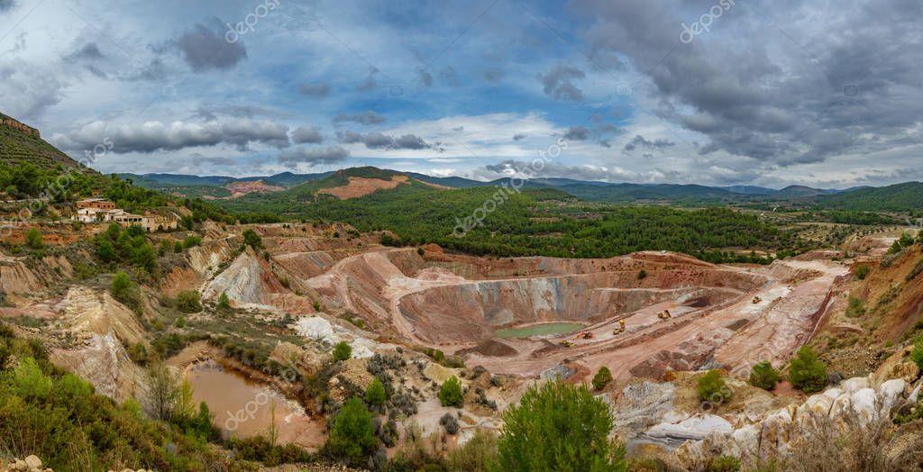 Kaolin deep strip mine ultra wide panorama with cranes