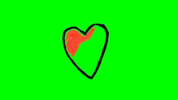 Kreslení různých srdce nad zelená obrazovka