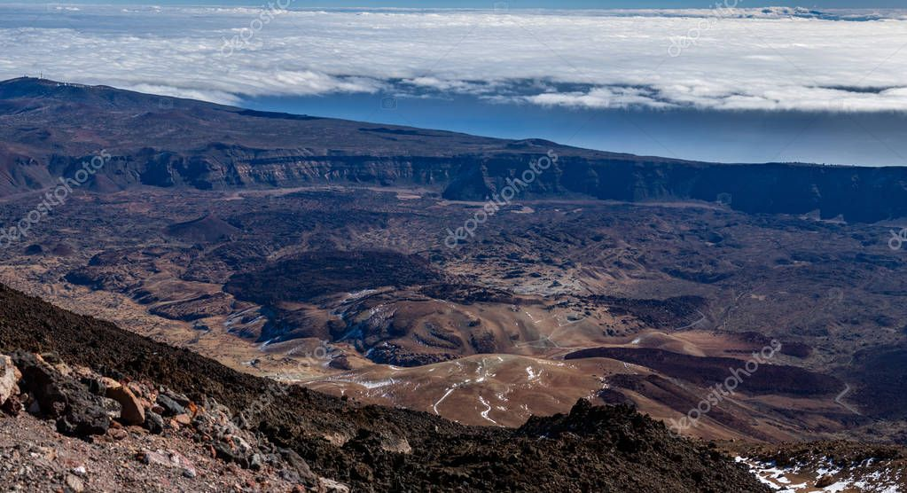 Huge gigapan view of Tenerife institute of astrophysics and crater over the clouds