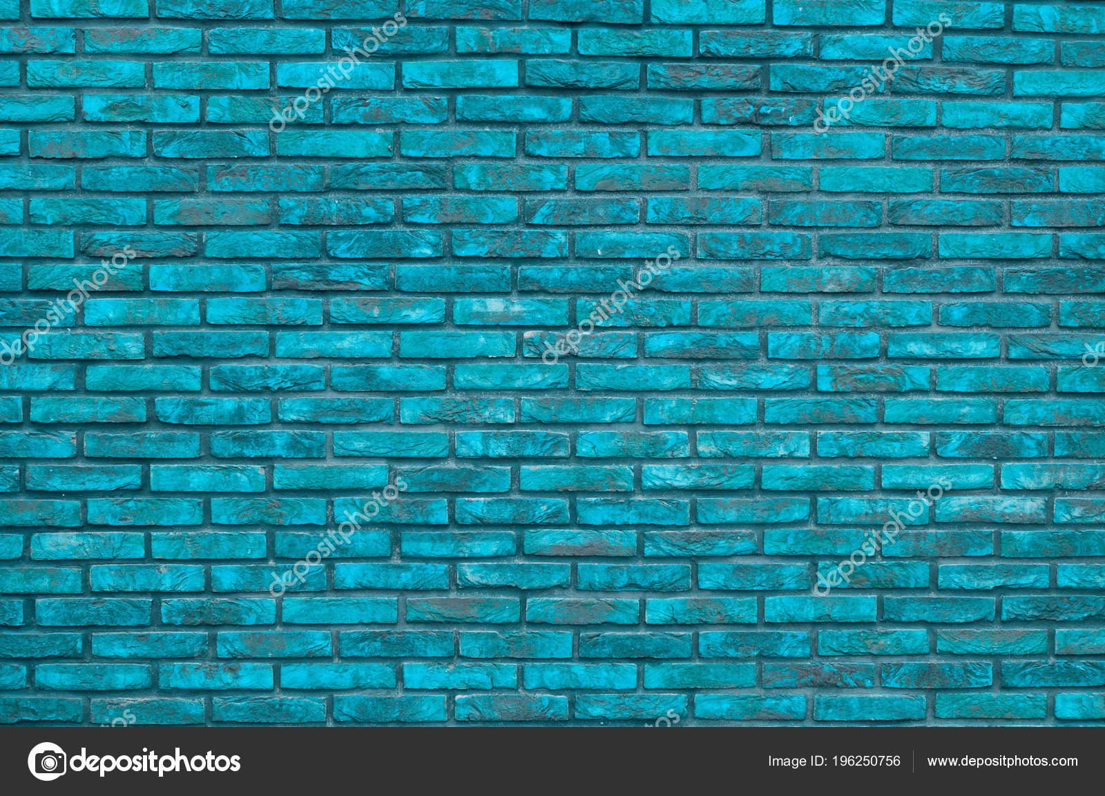 Vibrant Blue Brick Wall Background Wallpaper Bricks Pattern Texture Stock Photo