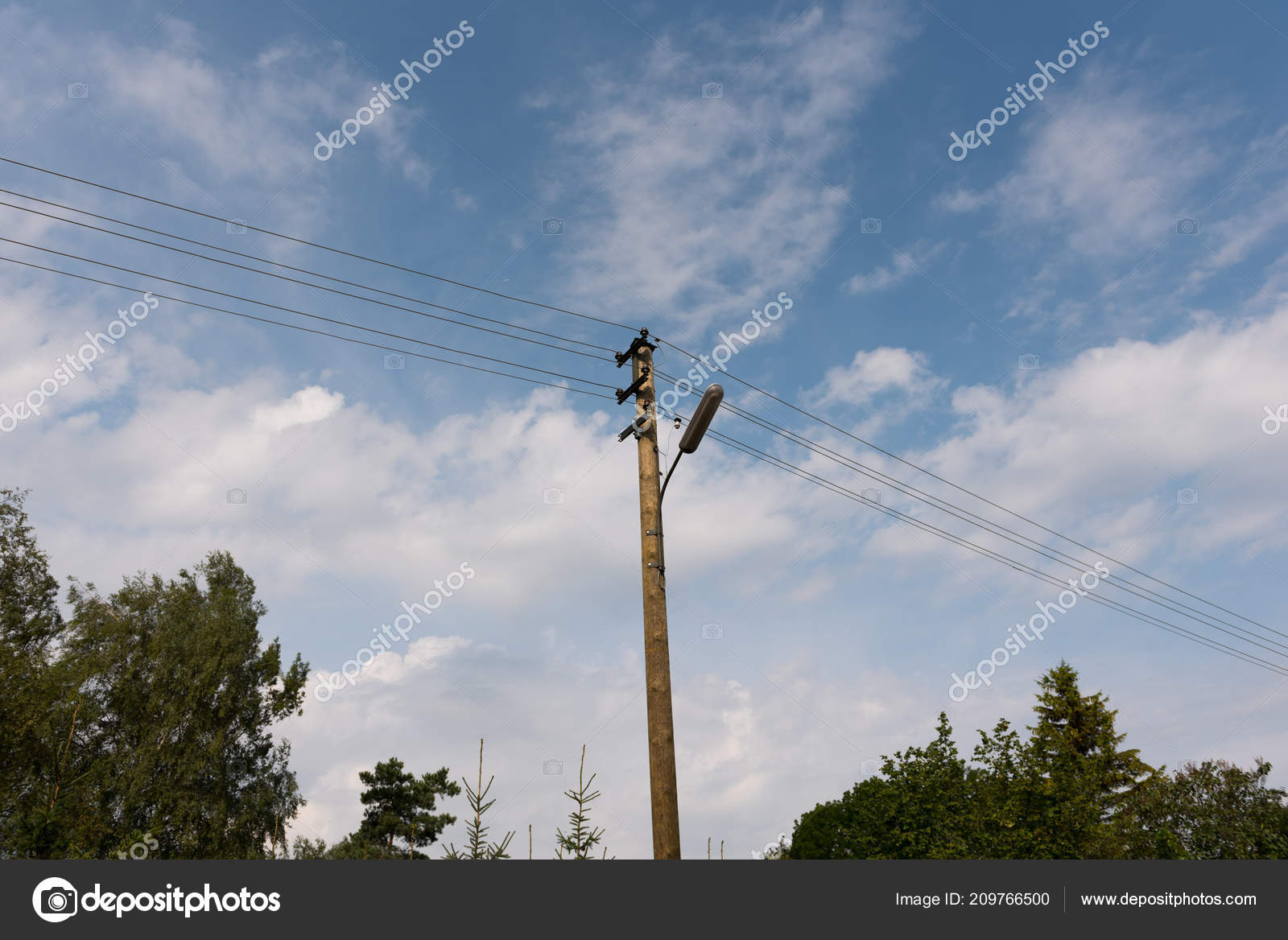 Wooden Street Lamp Post Electric Wires Blue Sky White Clouds Stock Wiring A Photo