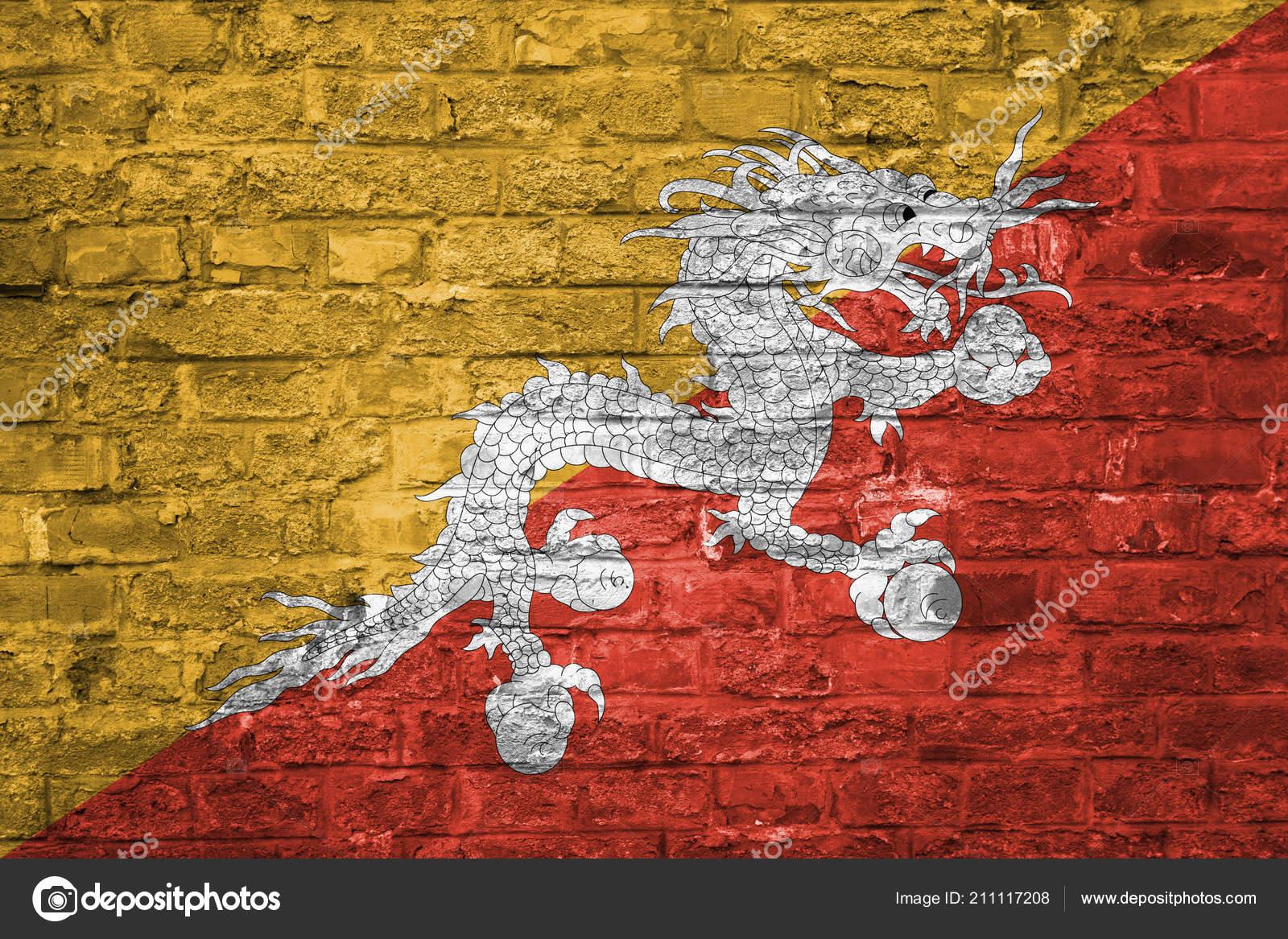 Flag Bhutan Old Brick Wall Background Surface — Stock Photo