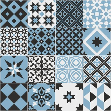 Seamless pattern of tiles. Vintage decorative design elements. Islam, Arabic, Indian, ottoman,patchwork handdrawn motifs. Perfect for printing on fabric or paper. Blue and black colors