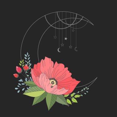 Hand drawn vector illustration - moon sign